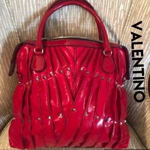 VALENTINO Red Bag Tote Rock Stud Maison Leather